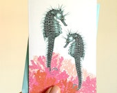 Seahorse Blank Note Cards, Cute Stationery Set, Beach Stationery, Set of 8 Blank Note Cards with Envelopes
