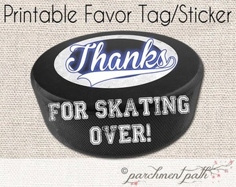 Instant Download - Hockey Favor Tags - Hockey Stickers - Printable - Hockey Birthday Party or Baby Shower - Hockey Team Gift, Coach Gift