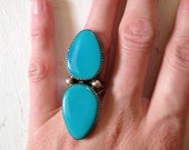 Turquoise Vintage 1990's Native American Double Stone Sterling Silver Long Ring 6