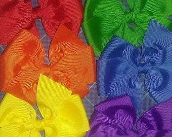 Solid color pinwheel bows set of 6