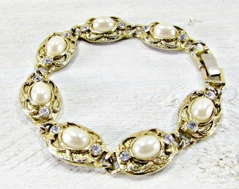 Vintage Pearl and Rhinestone Bracelet, Pearl and Crystal Gold Bracelet, 1950s Costume Jewelry, Prom Wedding Bridal Jewelry, Something Old