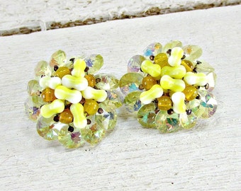 Vintage JONNE SHCRAGER Earrings, Yellow Crystal Cluster Earrings, Glass Beadwork Clip-on Earrings, 1950s High-End Designer Vintage Jewelry