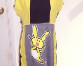 Upcycled Tshirt Dress Happy Bunny Yellow Black