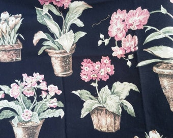 Fabric Decorator Broadcloth Cotton Black Background Potted Florals 22 Color Key Special Out Of Print Fabrics by AntiquesandVaria