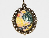 Café Necklace, Art Nouveau, Fernand Toussaint, Art Deco, Coffee Jewelry, Oval Pendant