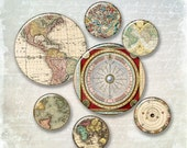 Old World  Globe Circles 1in  and  2in   -  Digital Collage Sheet, Download for Resin Pendant, Round Circle Images INSTANT  (J33)