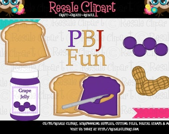 PBJ Peanut Butter and Jelly Grape 1 Clipart (Digital Download ZIP)