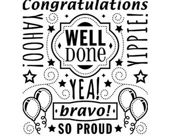 CONGRATS COLLAGE Embossing Folder by Darice Size A2