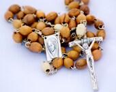 Handmade Two-Tone Wood Bead Catholic Rosary with Papal Crucifix