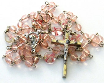 Breast Cancer Awareness Pink Ribbon Glass Bead Catholic Handmade Rosary