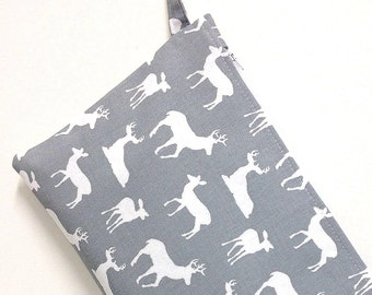 Large size wet bag. Grey and white deer/elk print. Great size wet bag for cloth nappy diapers.