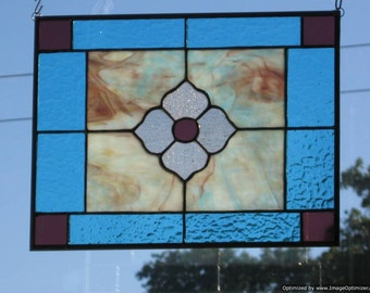 Prairie Rose Stained Glass Panel