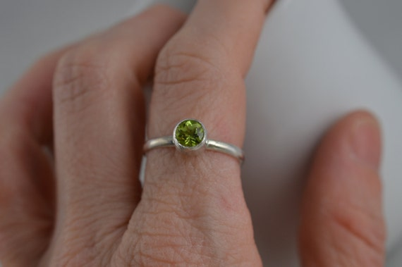 Sterling Silver Gemstone Ring - 3mm Silver Peridot Ring - August Birthstone Ring
