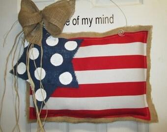 Burlap USA Flag  Burlap Door Hangers