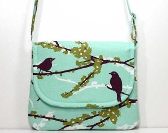 Small Foldover Crossbody Bag Small Shoulder Purse Sling Bag Hobo Bag Cross Body Bag - Plum Birds / Sparrows on Aqua - Joel Dewberry Fabric