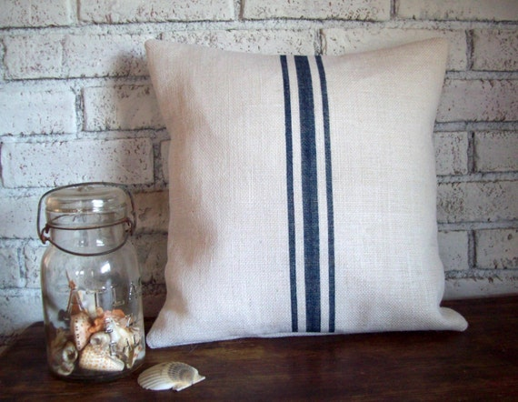 Burlap Grain Sack Pillow Cover with Hand Painted Navy Blue Stripes in Sizes 16 x 16 to 24 x 24 - More Colors Available - Striped Pillow