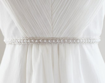 CAYLEY - Beaded Pearl Bridal Sash in Silver