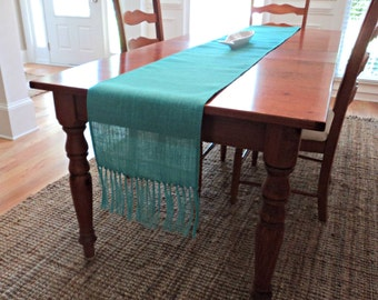 Aqua Blue Table Runner With Fringe Burlap Table Runner With Fringe Choose  Your Width U0026 Length