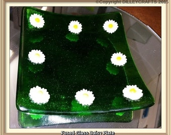 Fused Glass Daisy Appetizer Platter/Glass Art - Handmade Green streaky plate with glass daisies