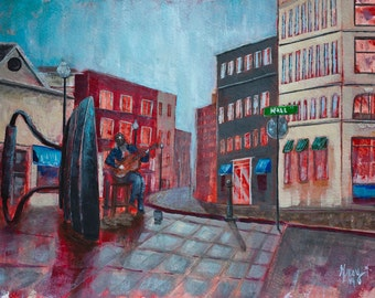Original Asheville Painting of Downtown Busker at Flat Iron on Fine Art Paper Signed and Ready to Frame