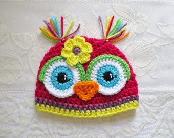Bright Pink, Medium Purple and Yellow Crochet Owl Beanie - Photo Prop - Available in Any Size or Color Combination
