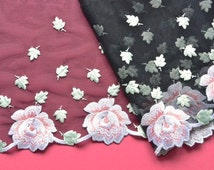 Black Floral Lace Trim, Pink and Mint Green, White Roses Lace, Embroidered Trim, Couture Trim, Lingerie, Sewing with lace