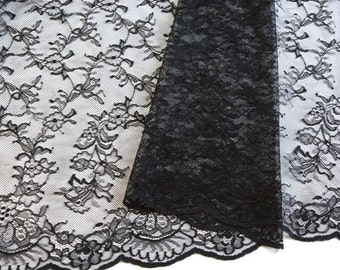 Black Chantilly Lace Fabric, Scalloped Edged Black Lace, Black Floral Lace, Mourning veils, Black lace Dress, Mantillas