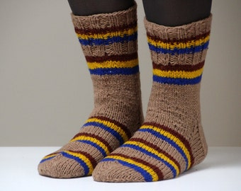 Size US woman's 8.5-9, Size 39-40 EU, Beautiful hand knit wool socks, brown with blue and yellow stripes