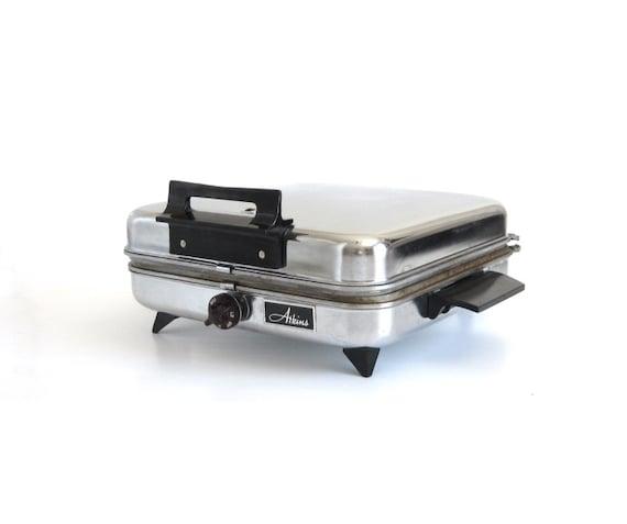 Chrome Waffle Iron Non Teflon Aluminum Atkins Electric Waffle Maker Series 950 1960s Kitchen Appliances