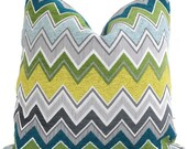 Peacock Schumacher Zenyatta Mondatta Chevron Pillow Covers 18x18, 20x20 or 22x22  or Lumbar Pillow Made to order pillow cover accent pillow