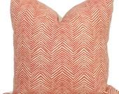 Shrimp Mini Zig Zag Quadrille Pillow Cover Square, Eurosham or Lumbar pillow Accent Pillow, Throw Pillow, Toss Pillow