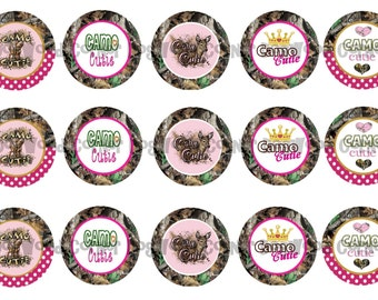 "1"" Camo Cutie Deer Hunting Pink Mossy Oak Bottle Cap Image Sheets Party Favors Cupcake Topper Magnet Stickers Printables Instant Download."
