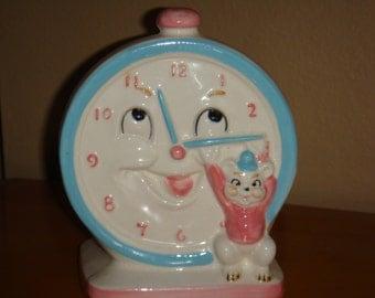 Vintage 1950s Napco Baby Nursery Clock and Bear Planter