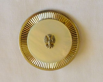 Coro Pegasus Brooch, Mother of Pearl Brass Eagle Coro Pin Brooch, Mother of Pearl Jewelry