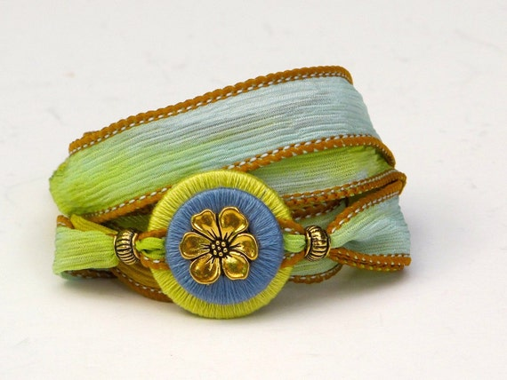 Silk Ribbon Wrap Bracelet, Whirly Wrap bracelet, hand painted silk bracelet, chartreuse, baby blue, brass apple blossom, easy secure magnet