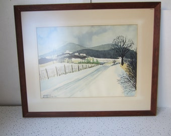 Pastoral Landscape, Lonely Road in Winter, by Leland S. McClelland