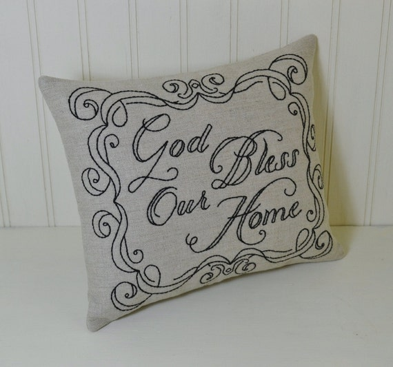 god bless our home decorative pillow hand embroidered. Black Bedroom Furniture Sets. Home Design Ideas