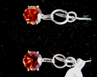 Earrings J Padparadsha Sapphire silver leverbacks 15ct