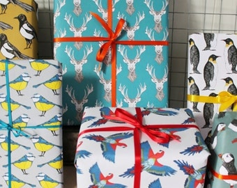Mixed Gift Wrap Pack - wrapping paper pack- bird wrapping paper-6 sheets - birthday wrapping paper - - wrapping paper for men - decoupage
