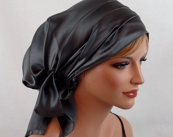 Silk Charmeuse Tichel, Pewter Hair Snood, Head Covering Scarf Bandana, Chemo Wrap, Sinar or Apron Tichel, Jewish Head covering