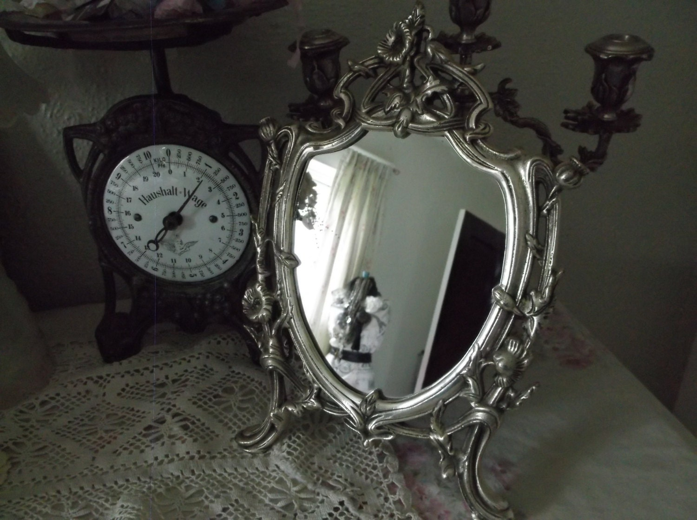 Large Antique Victorian Ornate Silver Mirror Dresser Vanity