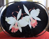 Reserved for Daisy Vintage Two Handle Decorative Oval Tin with Two Orchid Flower Images