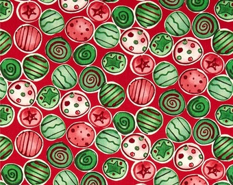 58031 Free Spirit Kathy Davis Joyful holiday collection PWKD081 - Shiny  & bright in traditional  color- 1 yard