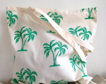 Green Palm Block-Printed Cotton Tote Bag