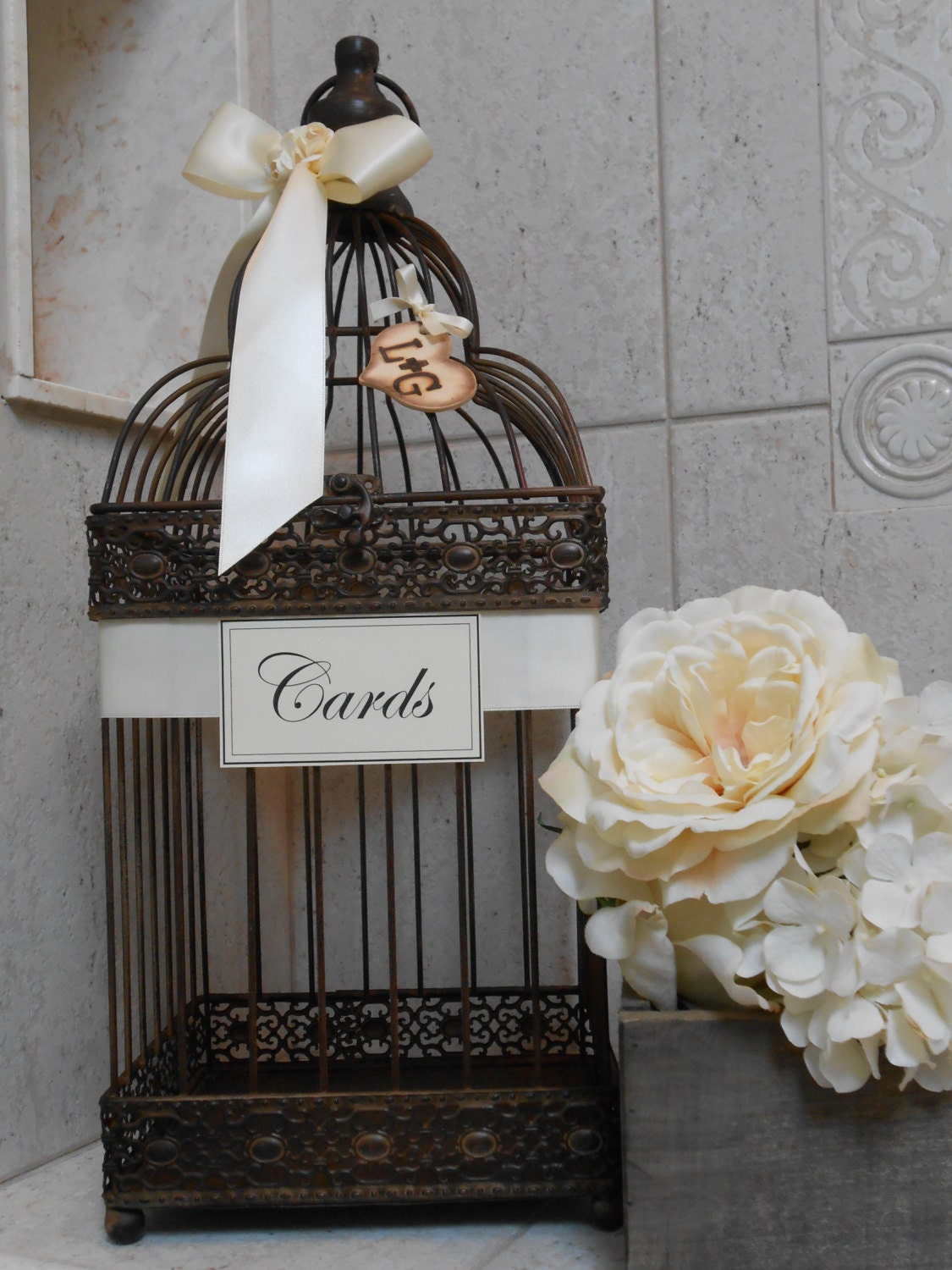 Rustic Birdcage Wedding Card Holder / Birdcage / by TheLaceMoon