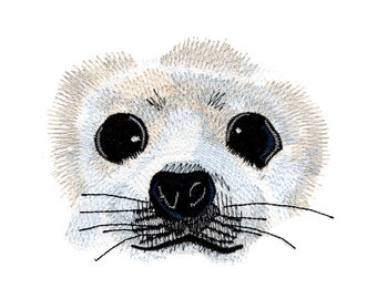Harp Seal Eyes Embroidered Flour Sack Hand/Dish Towel