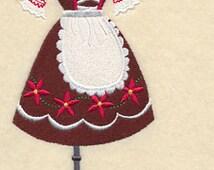German Dress Form Embroidered Flour Sack Hand/Dish Towel