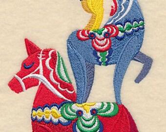 Dala Horse Stack Sweden Scene Embroidered Flour Sack Hand/Dish Towel