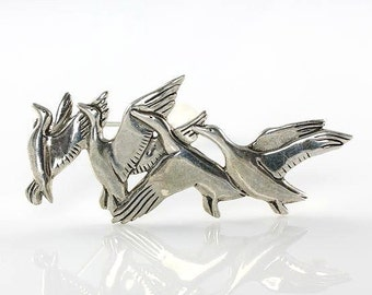 Sterling Bird Brooch pin, Figural jewelry, Birds in Flight, signed H&H DeMatteo