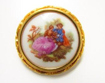 Vintage Limoges Porcelain Portrait Brooch signed